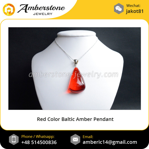 Red Color Baltic Amber Pendant with Sterling Silver Hanger Handmade Jewelry Wholesale