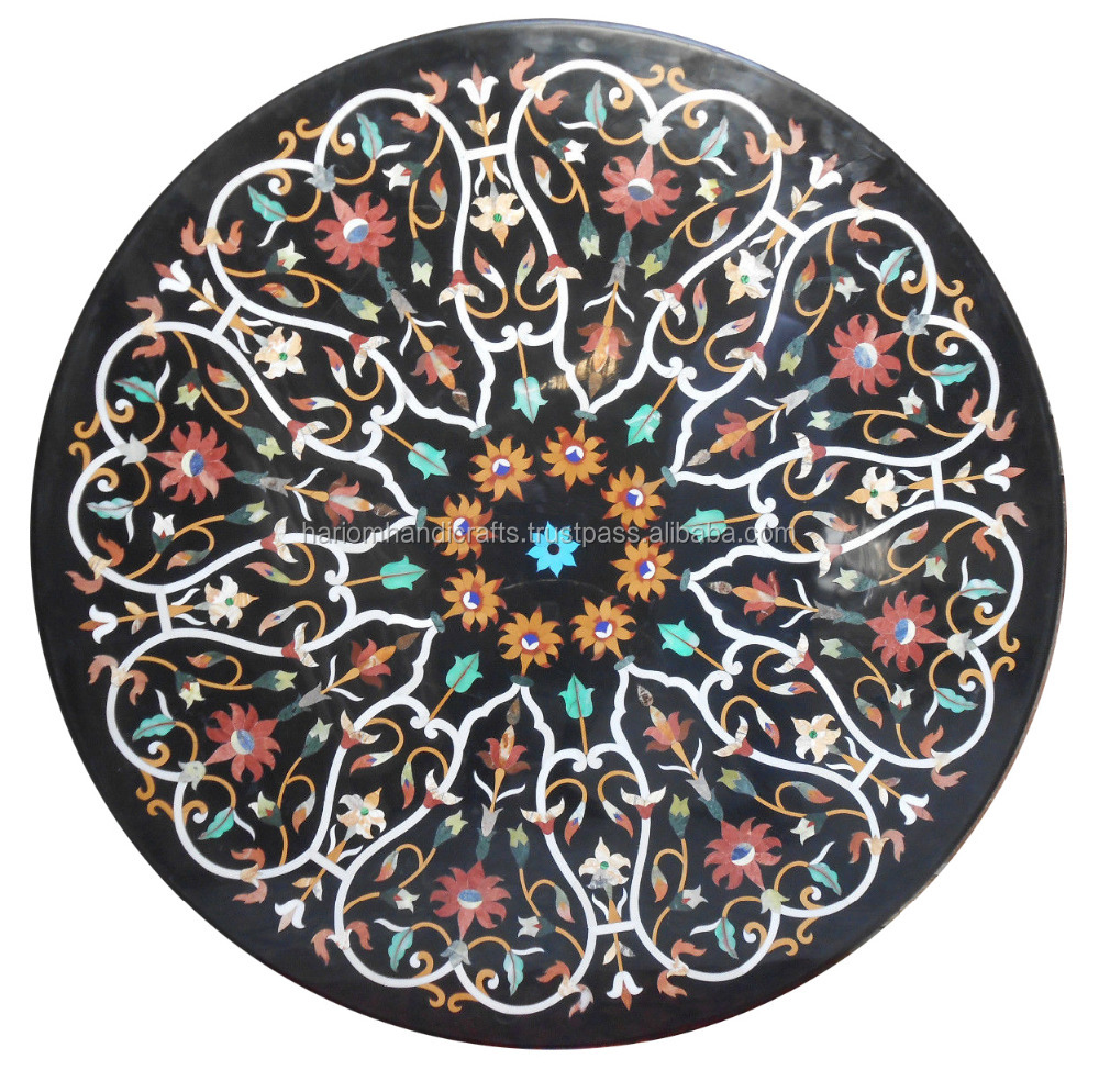 Black Marble Dining Round Coffee Center Side Table Top Rare Pietra Dura Marquetry Art Garden Decor H2382