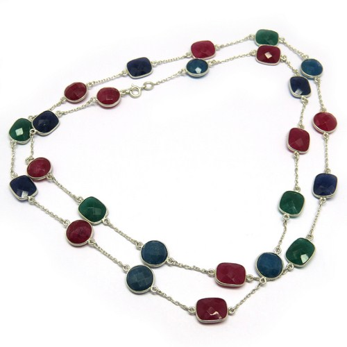 Excellent Ruby_Emerald_Sapphire 925 Sterling Silver Beads Gemstone Necklace, Silver Jewelry Wholesaler, Online Silver Jewelry