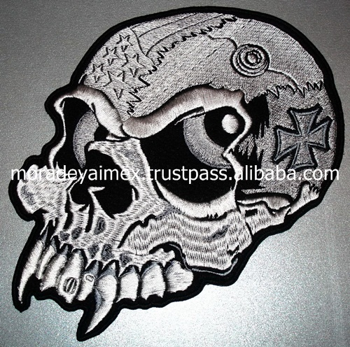 Skull Embroidery Patches 3D Bike Customized your brand logo Embroidery Patches