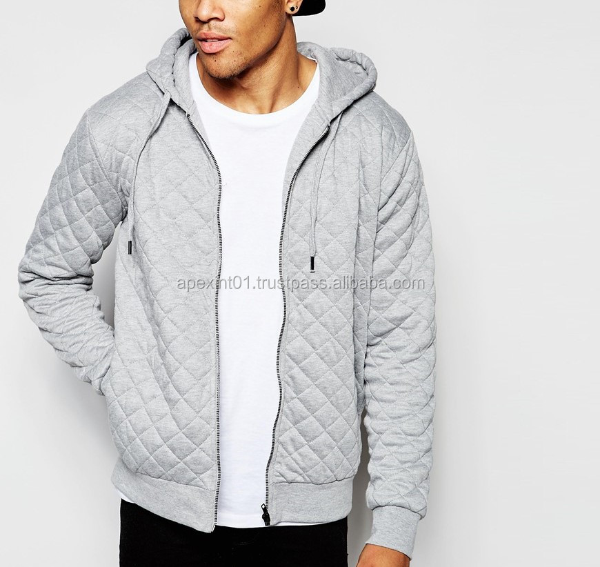 Custom quilted Elongated Hoodie/Wholesale Men's cheap Extra Long Hoodie