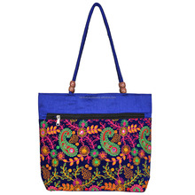 BHBR-3 Velvet Embroiderey And Mirror Work Hand Bags For Daily Use, Rajasthani Embroidered Handbags, Indian Tote Bags