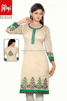 golden Color Tunic And The Front Has Hand Embroidered Work Lovely Golden Dress With Green Embroidery Tunic 2015