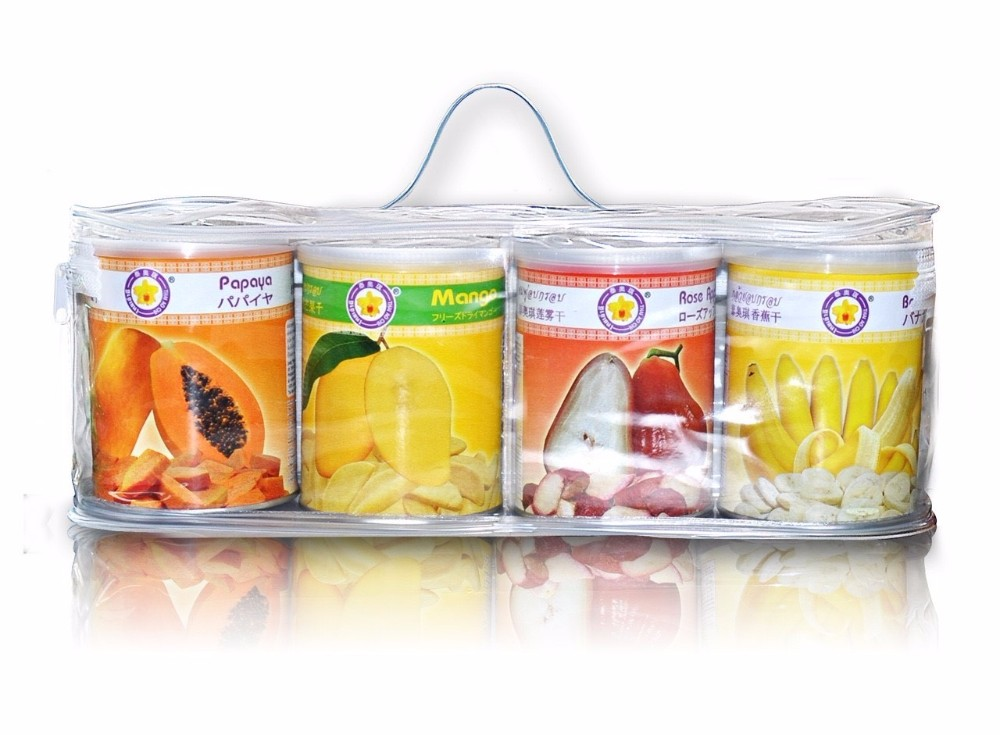 Freeze dried fruit gift set ( 4 tin can ) by Thai Ao Chi Fruits from Thailand