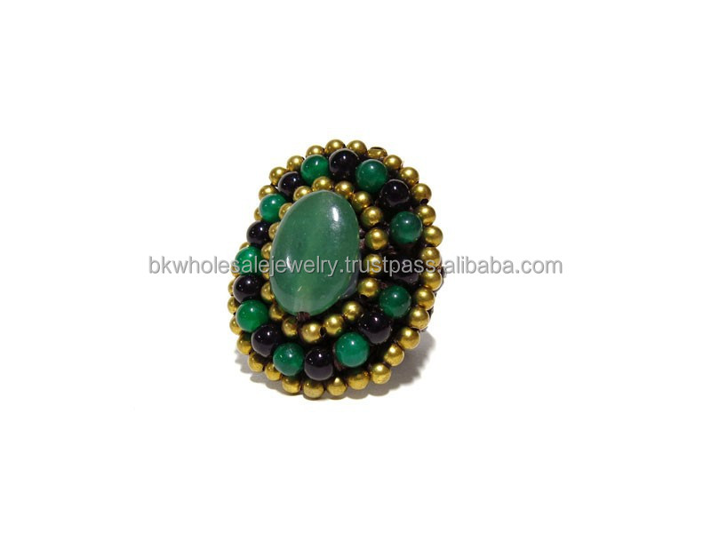 0095 THAILAND Handmade JEWELRY set Artisan Brass Woven BOHO Ethnic Fashion Ring Turquoise Agate Stone Pearl Shell SUMMER 2015