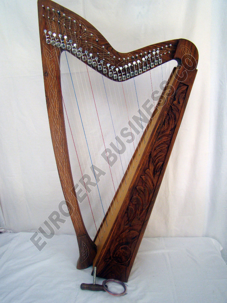 27 string irish harp with levers , tuning key,extra strings, tutor book & bag