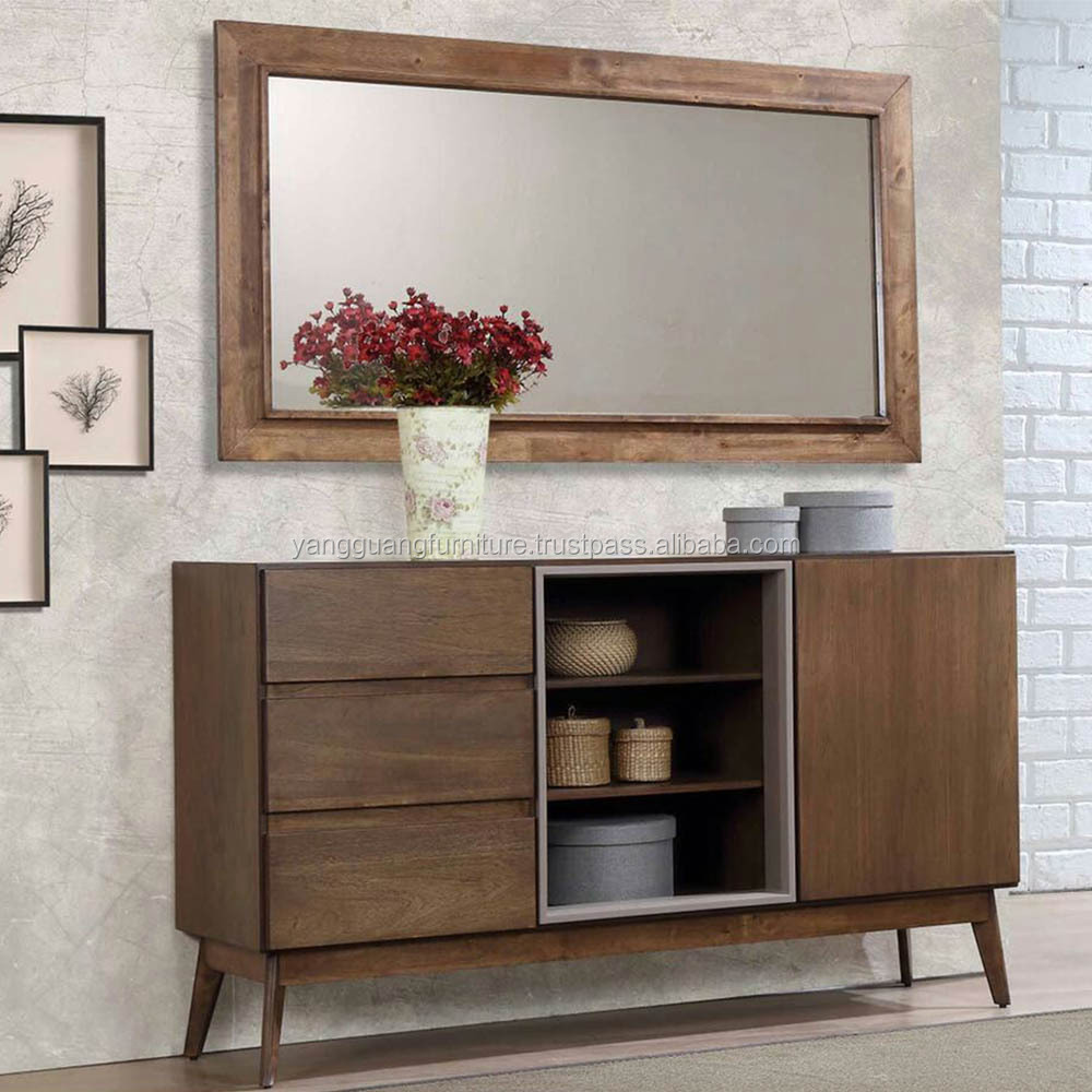 MODERN CLASSIC WOODEN CONSOLE WITH WALL MIRROR