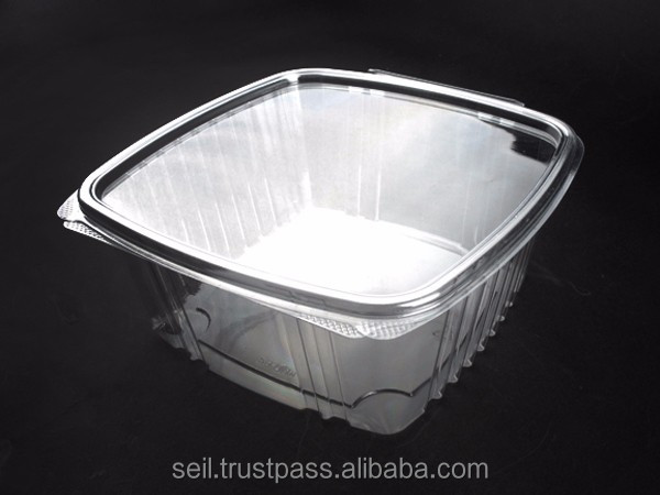 64oz PET salad container, disposable food contanier with higed lid, Clear plastic container