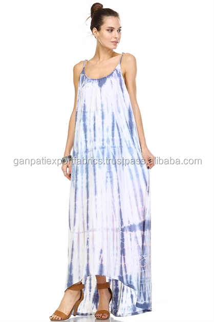 Women's Wear Designer Long Maxi High To Low Spaghetti Dress Rayon Tie & Dye