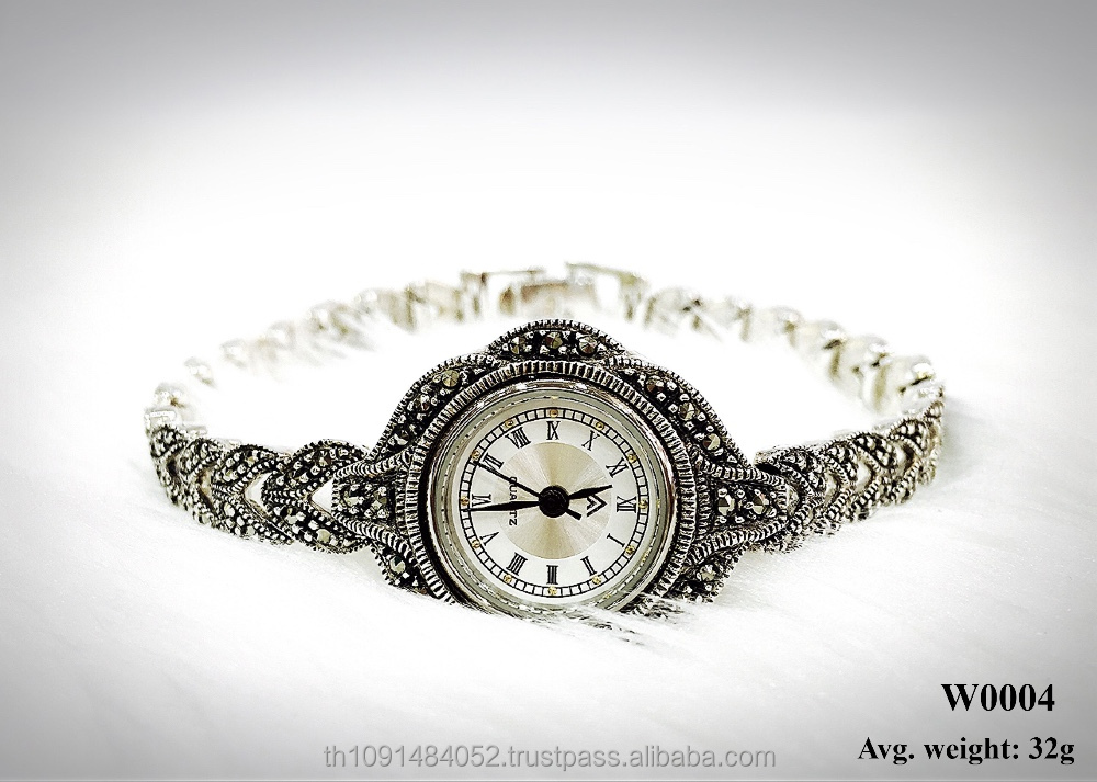 Lady Watch 925 sterling silver with Swiss marcasite stone jewelry