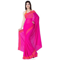 Glorious Magenta Colored Plain Chiffon Saree
