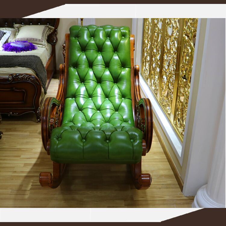 Single seat relax chair recliner sofa in green color Solid