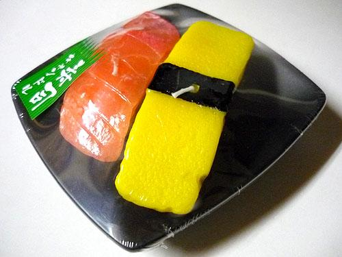 Sushi paraffin wax candle (tuna and egg sushi shape)