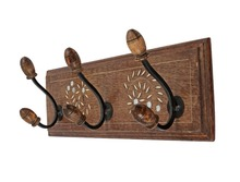 "Vintage Wall Coat Hooks Hanger 18"" Rack Adorned with Mirror Art Home Decor"