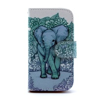 For Samsung Galaxy Ace II X S7560M Leather Cover Card Holder - Elephant Art Print