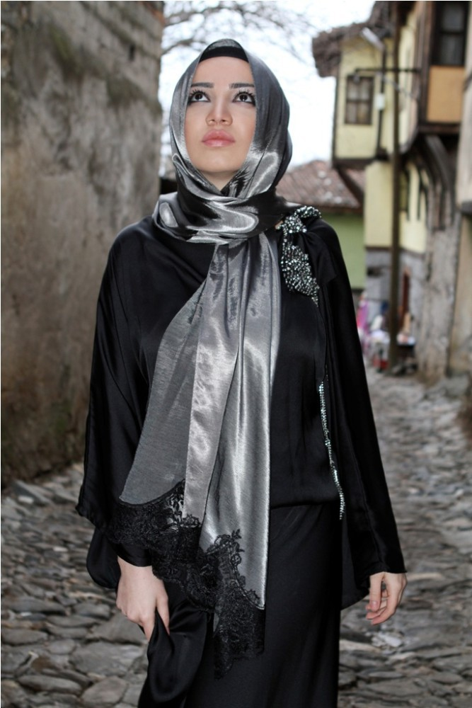 2015 New Style Exclusive High End Silk Looking Laced Hijab shawl 1001