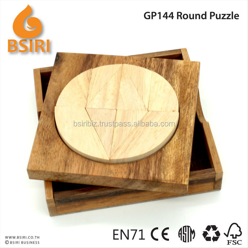 Round Circle Tangram Puzzle Wooden Brain Teaser Puzzle