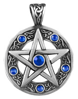 The protective talisman amulet lucky charm Celtic Pentagram with blue rhinestone (100 % pewter)