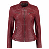 Red Colour Women Leather Jacket With
