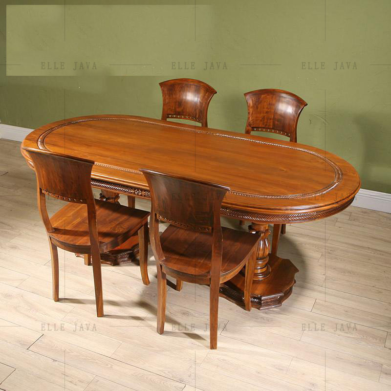 Natual Solid Wood Furniture Set One Table Six Chairs for One Set Dinning Room Furniture