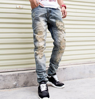 New men jeans with holes denim ripped denim jeans pants / High Quality Denim Pants