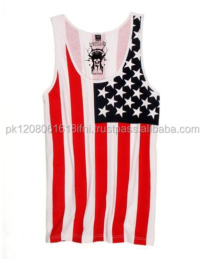 exporters of sublimation gym tank top fitness and fashion wear Usa Flag