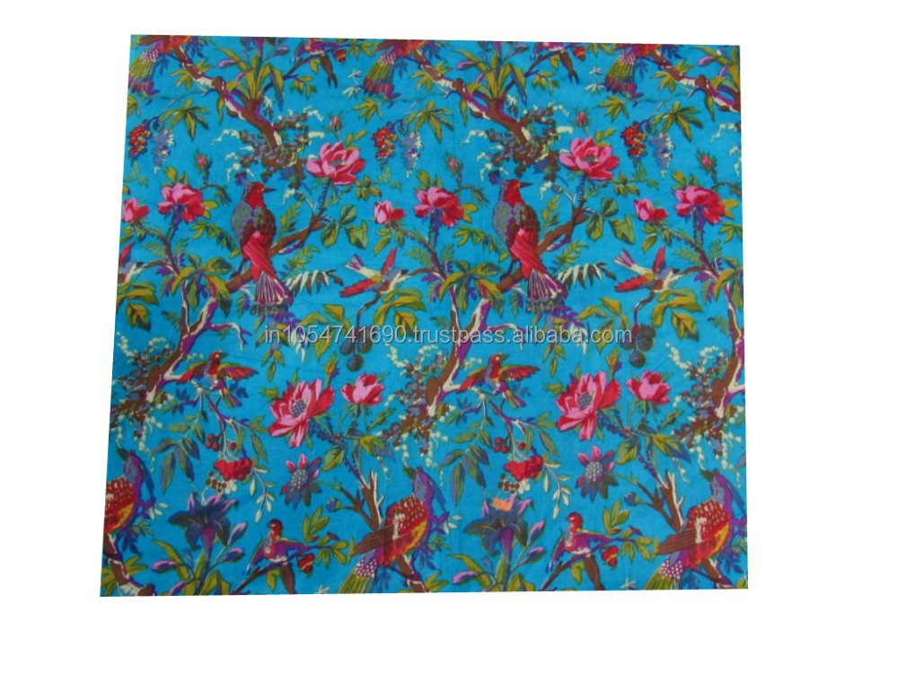 Indian Handmade Printed Fabric Running Fabric 100% Cotton Printed Fabric Flower & Floral Print Fabric Manufacturer & Wholesaler