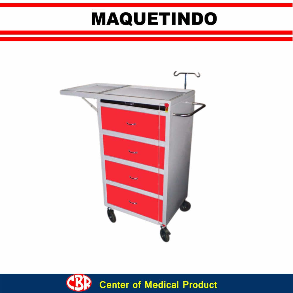 Hospital Emergency Trolley Bed Side Cabinet With Over Bed Table and Infuse Stand
