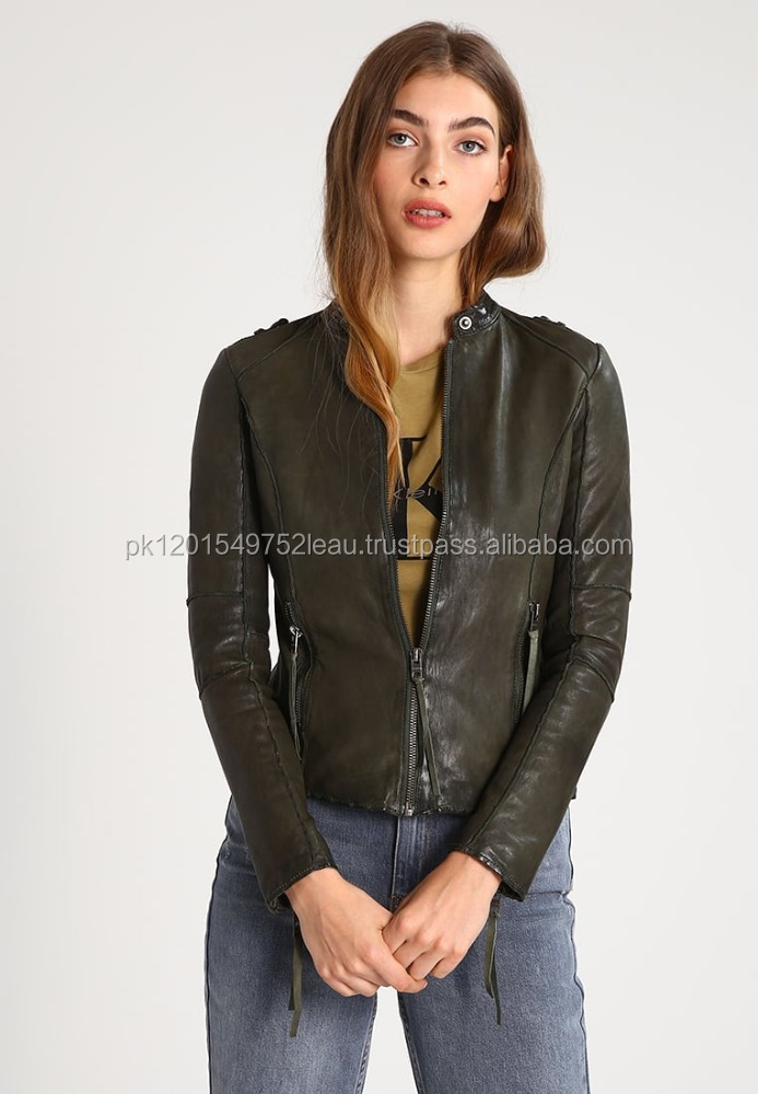 Fancy Girl Unique Sheep Skin Leather Jacket