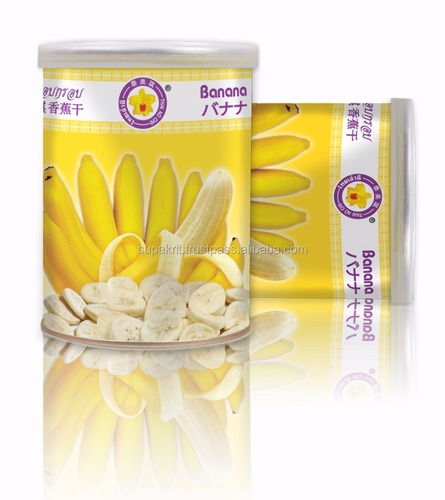 Best selling Vacuum freeze dry Banana 50 g tin - Thai Ao Chi Brand - Dry fruit Snacks