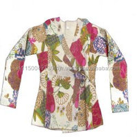 Beautiful handblock Kantha Indian Cotton Tropical Kantha Handmade Flower Printed Jacket