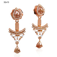 New Designer 2016 Ear Jacket Earring, 18k Rose Gold ice Diamond Ear Jacket Handmade Earring, Wholesale Designer Gold Earring