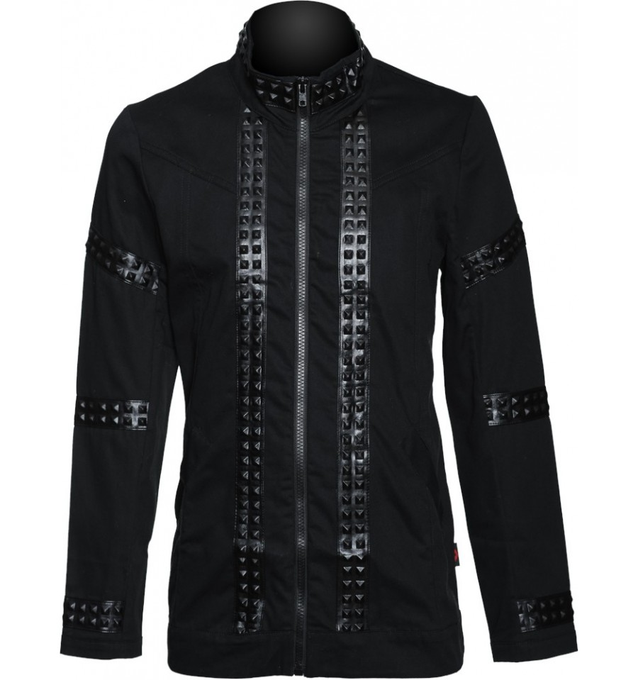 Men's Gothic military Jacket with black leather-look applications and studs by Flex Future