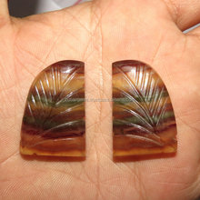 Match Pair Awesome Natural Fluorite Carving Fancy Shape Cabochon Good Quality On WholeSale Price