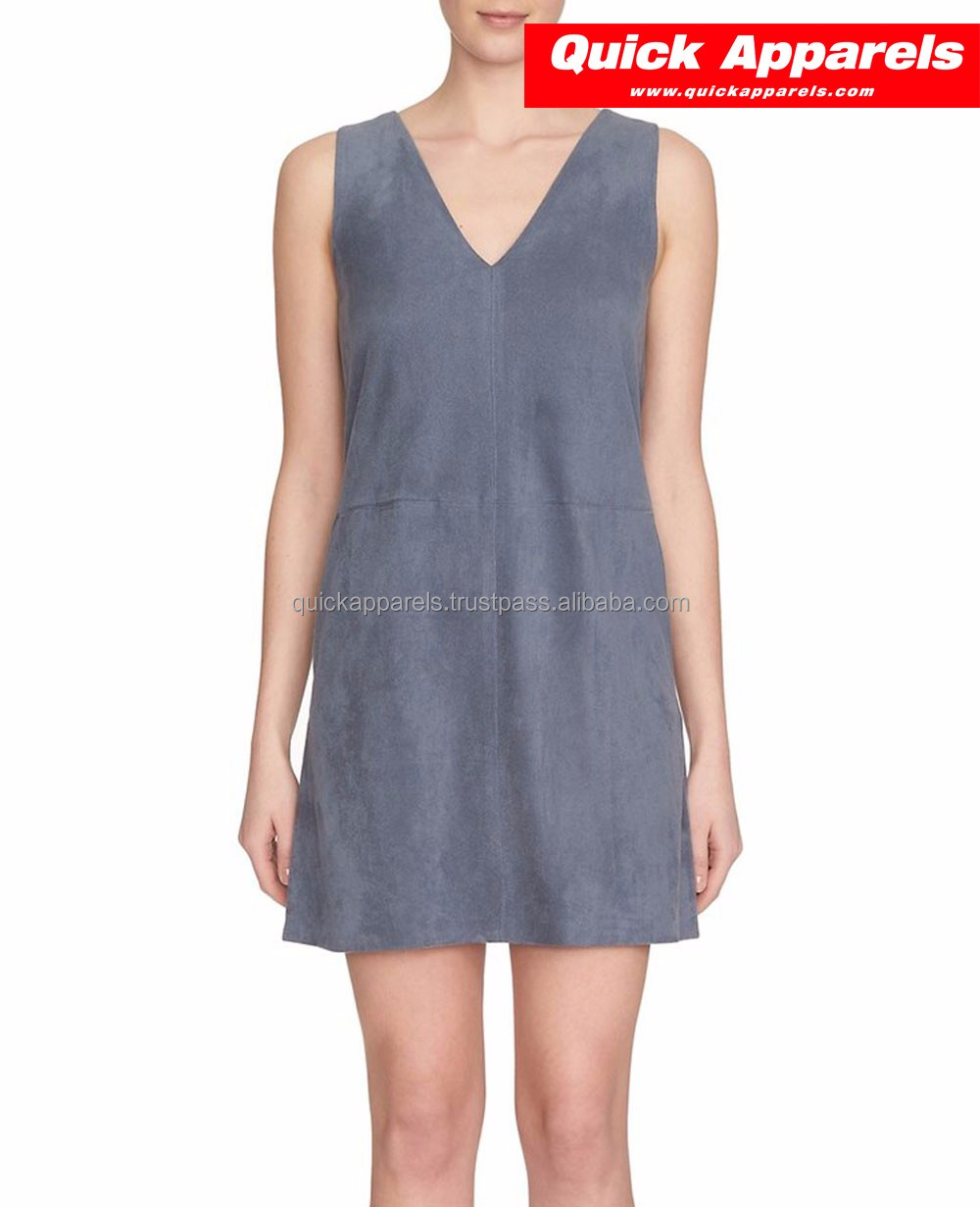 factory clothing wholesale latest design high end sleeveless women casual leather dress