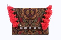 Hmong Bird Embroidered Clutch Bag with Hairs and Coins- Mocha