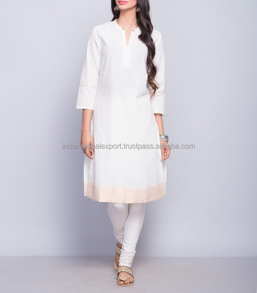 White Cotton Zari Border Top Stitch Mini Kurta For Girls