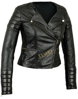 cheap street women leather coats hot selling black ladies leather jacket