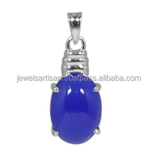 Wholesale Price Natural Blue Onyx Gemstone 925 Sterling Silver Pendant