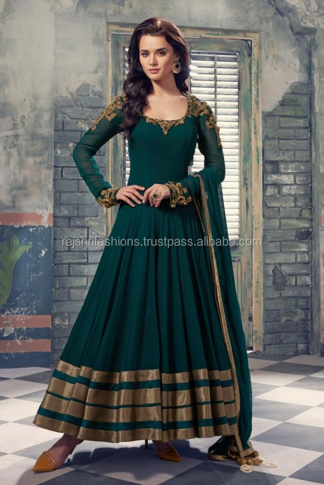 Seagreen color withzardosi work at neck hands zari stripes border at bottom designer long Readymade Anarkali Salwar Kameez