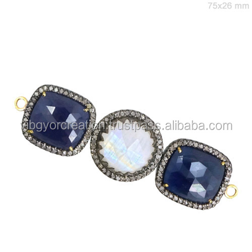 Blue Sapphire 925 sterling silver oval gemstone connectors with double loops jewelry making supplies wholesaler