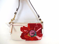New Authentic Coach White Leather Poppy Flower Demi Shoulder Baguette Purse