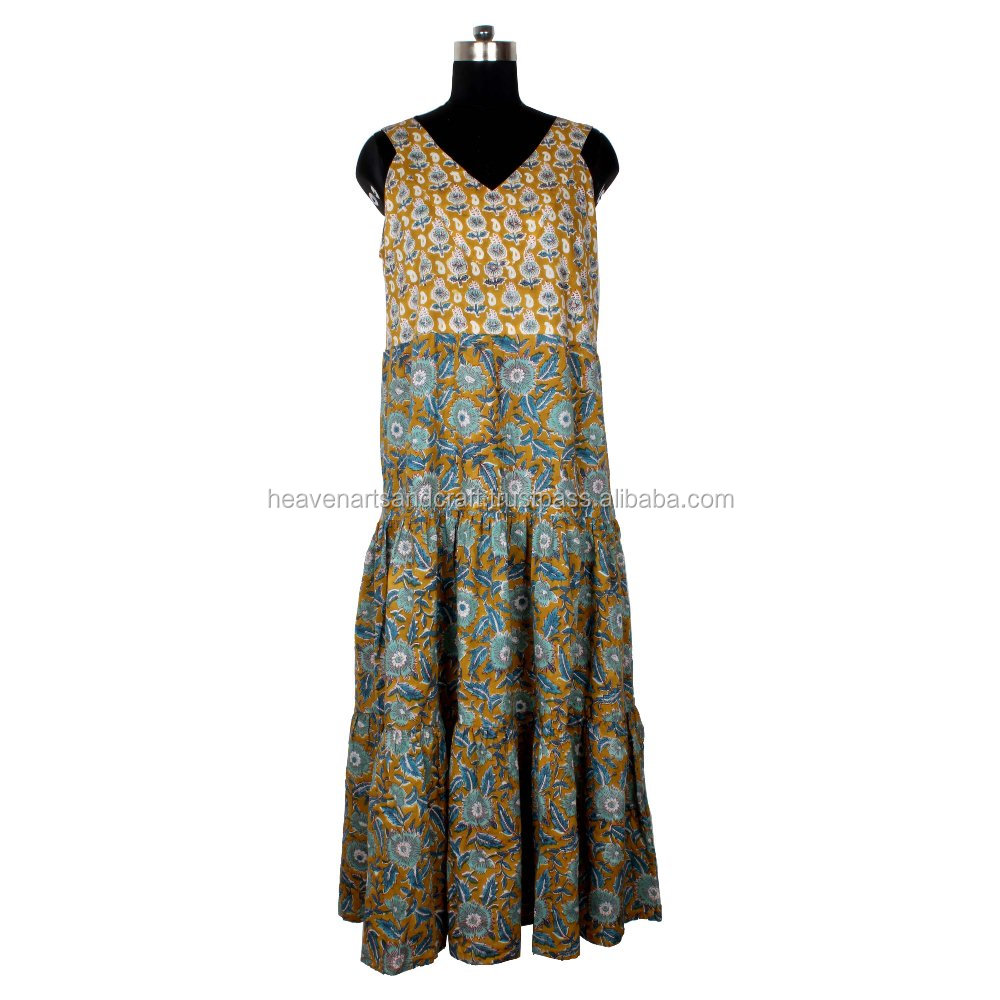 Hand Block Print Cotton Fabric Long Kurta, Tunic Long Kurti, and Dress Ethnic Printed Cotton Beautiful Girls & Woman's Wear