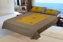 traditional sanganeri hand block printed indian cotton design kind size bed sheet