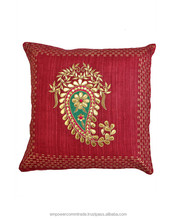 Paisley motif with gota and applique work zardozi embroidery silk fabric cushion covers