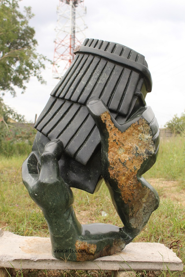 Traditional Mbira (Thumb Piano) Player - Opal stone sculpture