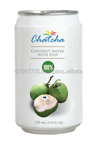 Tin cans coconut water with pulp