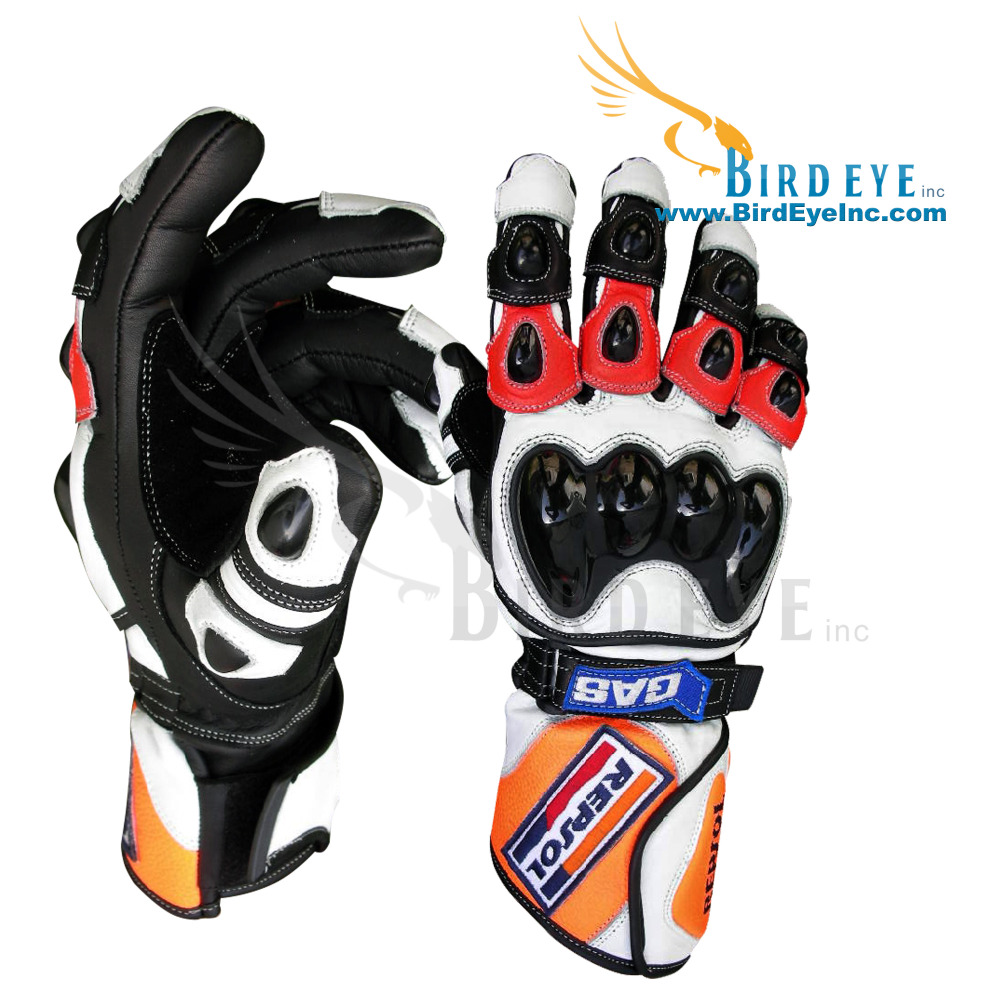 Honda Repsol Motorbike Gloves Motorcycle Gloves Genuine Leather with TPU Protections Replica