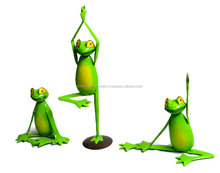 Garden Statue Hand Crafted Iron Sculpture Set of 3 Yoga Frog decorative