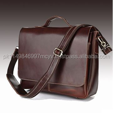 Handmade casual flip laptop bag, pure leather laptop case, strap file case men